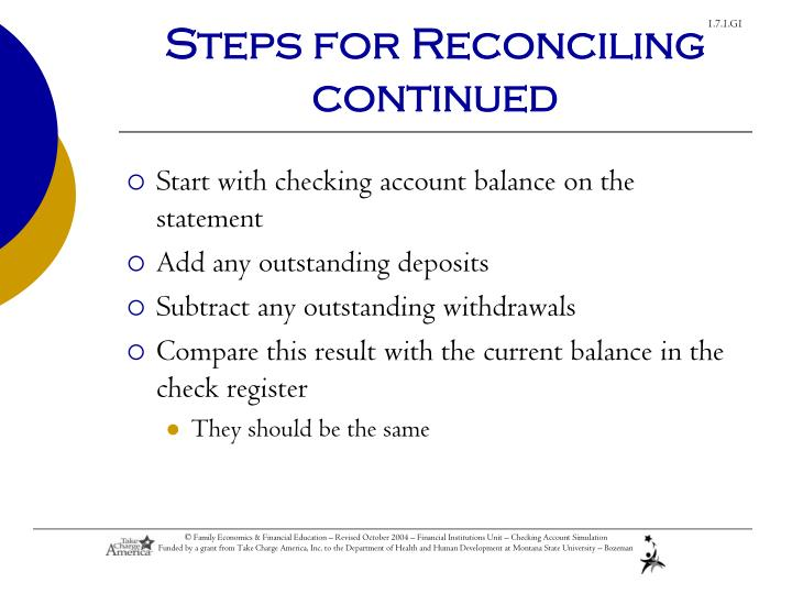 Steps for Reconciling continued
