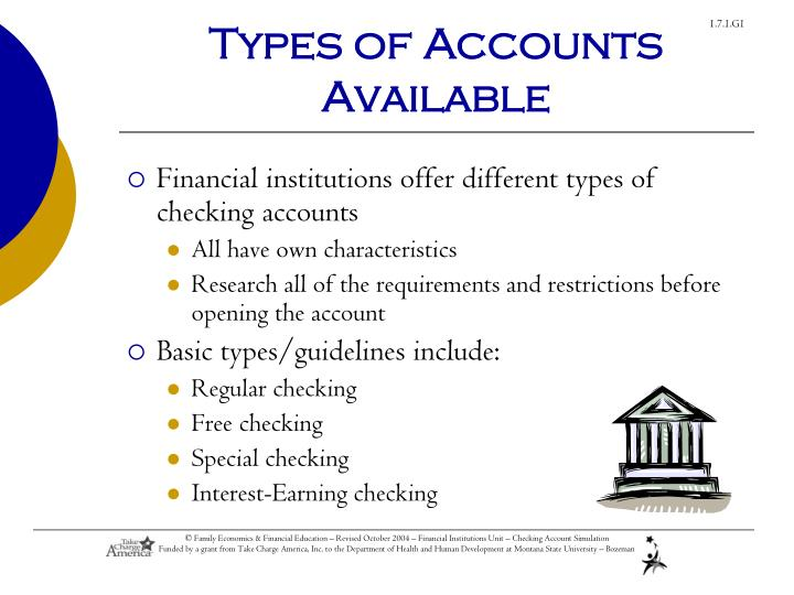 Types of Accounts Available