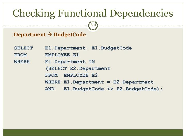 Checking Functional Dependencies
