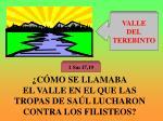 c mo se llamaba el valle en el que las tropas de sa l lucharon contra los filisteos