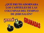 qu fruto adornaba los capiteles de las columnas del templo de jerusal n