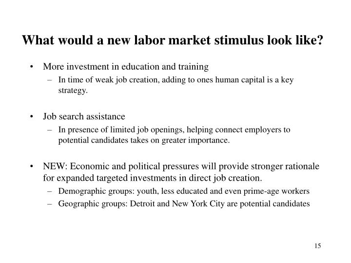 What would a new labor market stimulus look like?