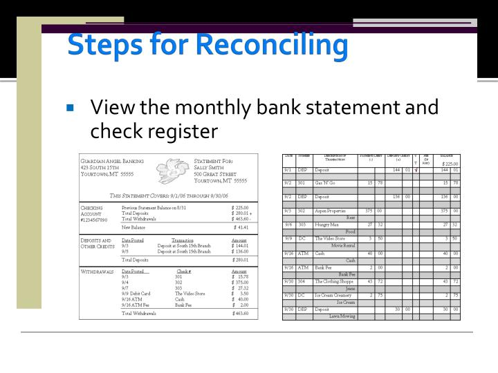 Steps for Reconciling