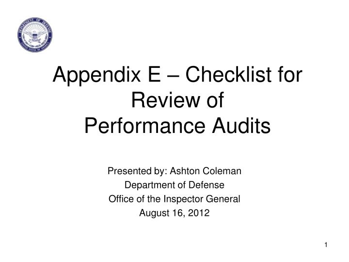 Appendix e checklist for review of performance audits