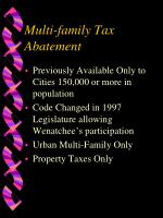 multi family tax abatement