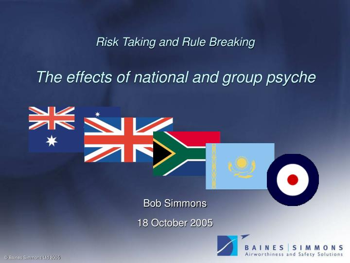 Risk taking and rule breaking the effects of national and group psyche