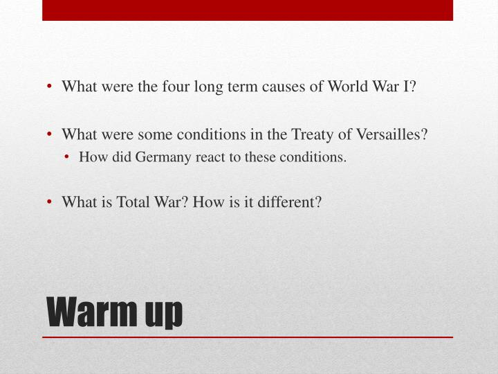 What were the four long term causes of World War I?