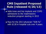 cms inpatient proposed rule released 4 26 13