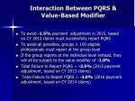 interaction between pqrs value based modifier