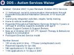 dds autism services waiver