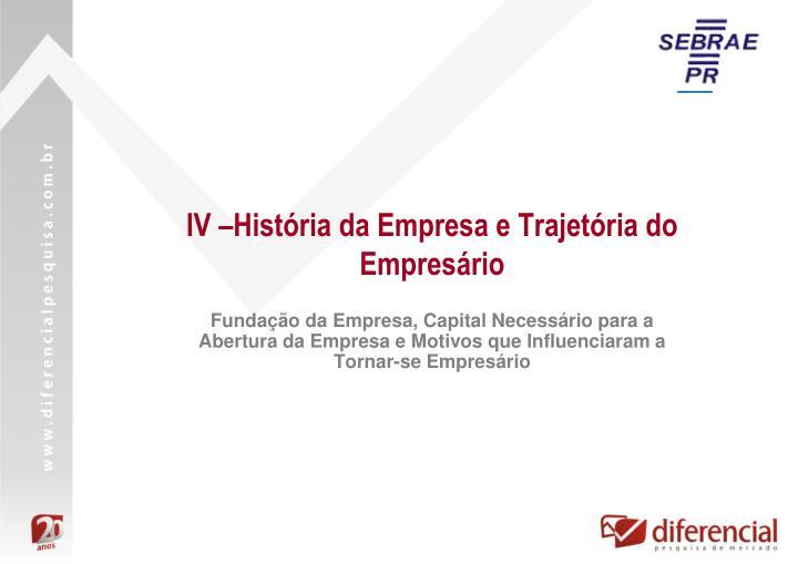 IV –História da Empresa e Trajetória do Empresário