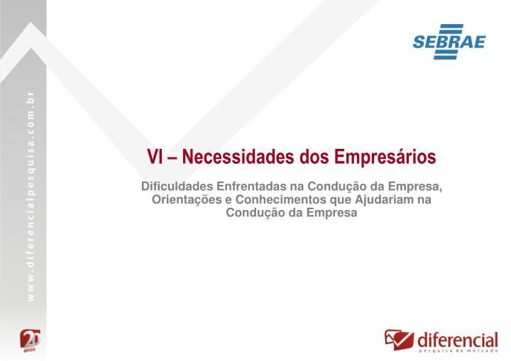 VI – Necessidades dos Empresários