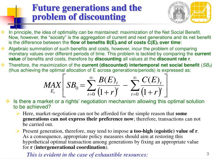 Future generations and the problem of discounting