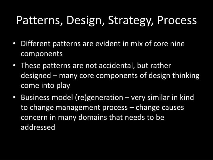 Patterns, Design, Strategy, Process