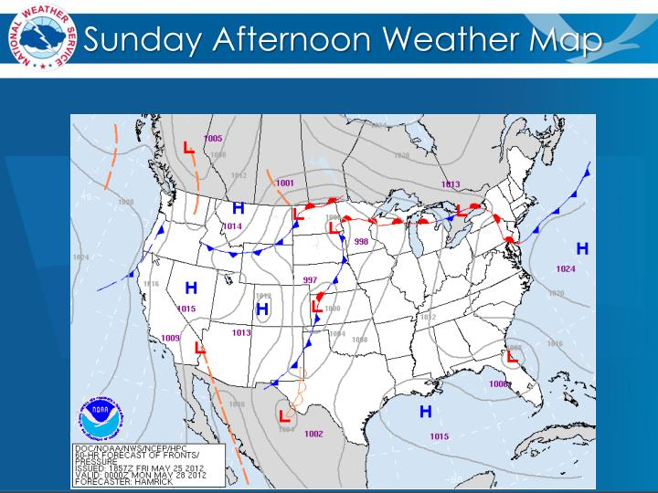 Sunday afternoon weather map