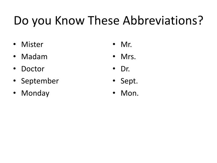 Do you know these abbreviations