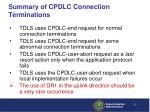 summary of cpdlc connection terminations