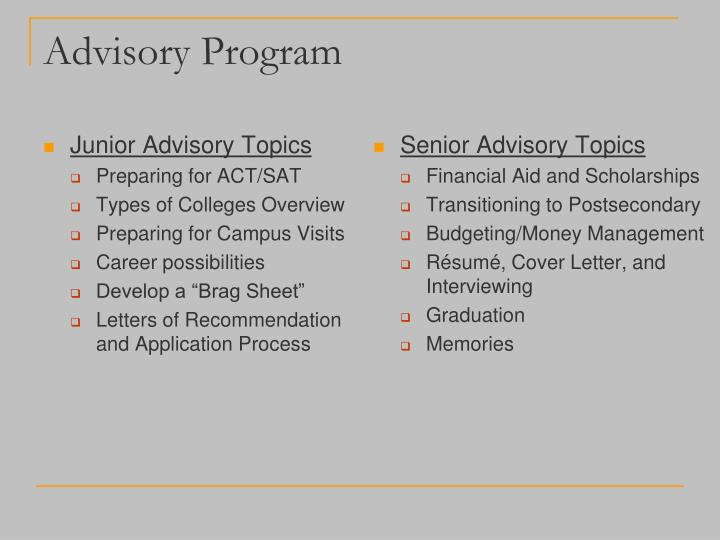 Junior Advisory Topics