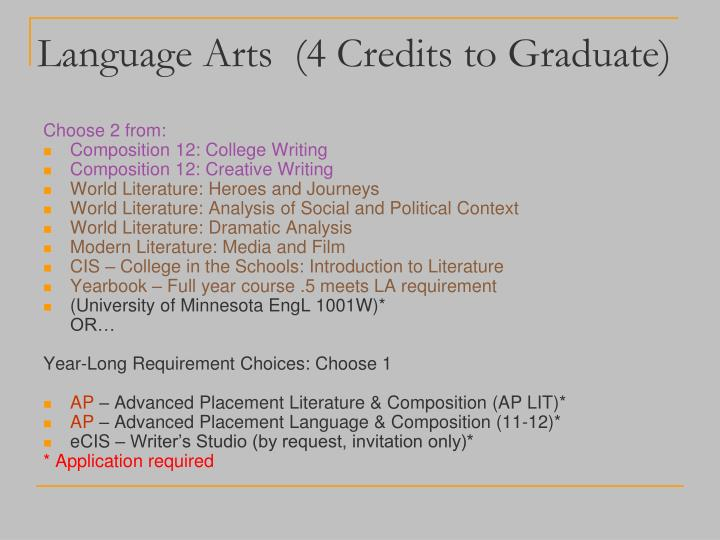 Language Arts  (4 Credits to Graduate)
