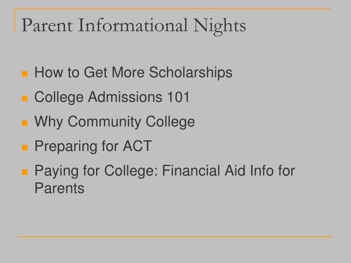 Parent Informational Nights