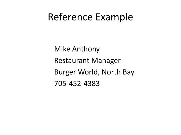 Reference Example