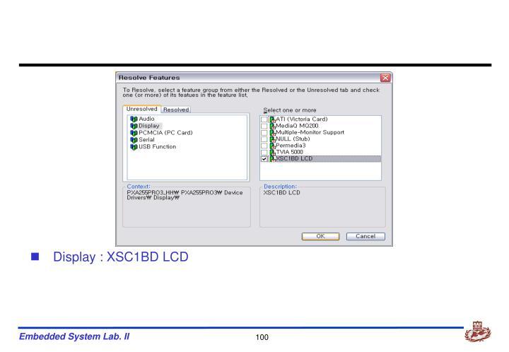 Display : XSC1BD LCD