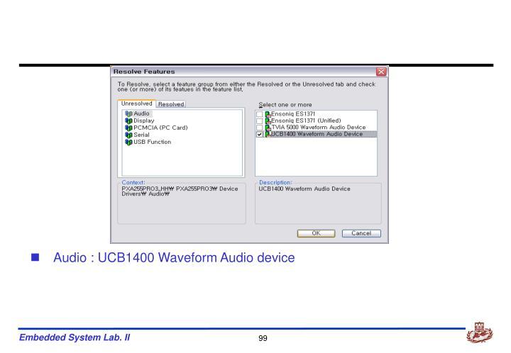 Audio : UCB1400 Waveform Audio device