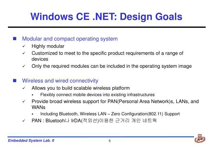 Windows CE .NET: Design Goals