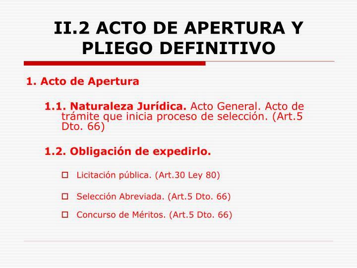 II.2 ACTO DE APERTURA Y PLIEGO DEFINITIVO