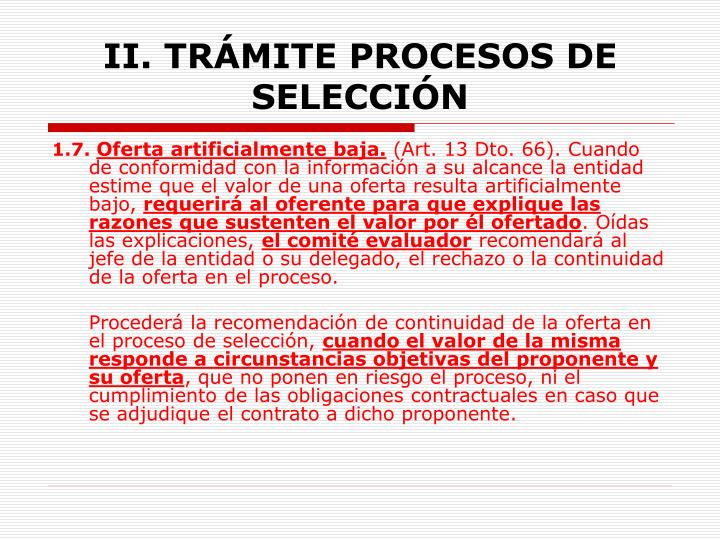 II. TRÁMITE PROCESOS DE  SELECCIÓN