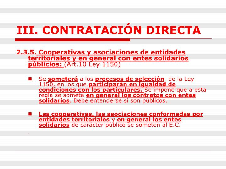 III. CONTRATACIÓN DIRECTA