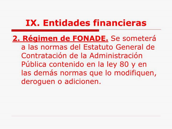 IX. Entidades financieras