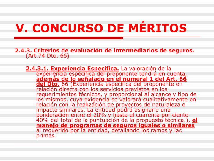 V. CONCURSO DE MÉRITOS