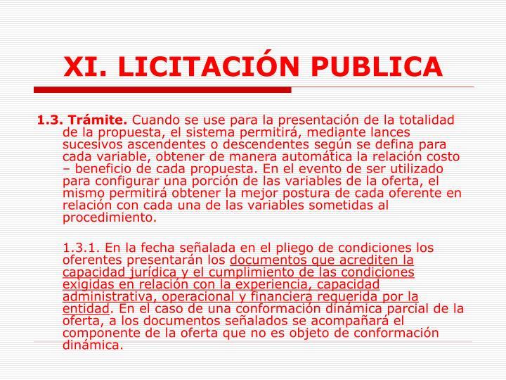 XI. LICITACIÓN PUBLICA