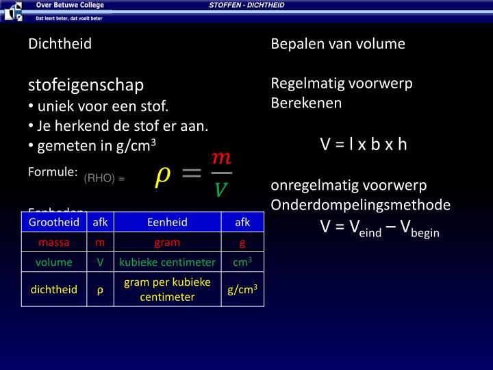STOFFEN - DICHTHEID