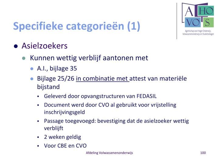 Specifieke categorieën (1)