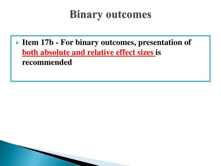 Binary outcomes
