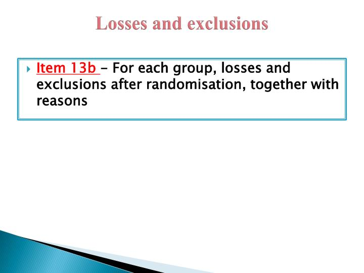 Losses and exclusions
