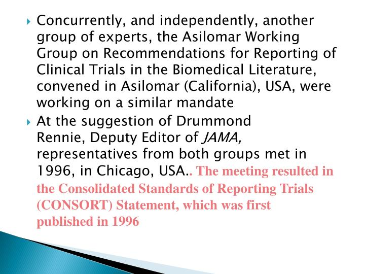 Concurrently, and independently, another group of experts, the