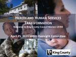health and human services transformation response to king county council motion 13768