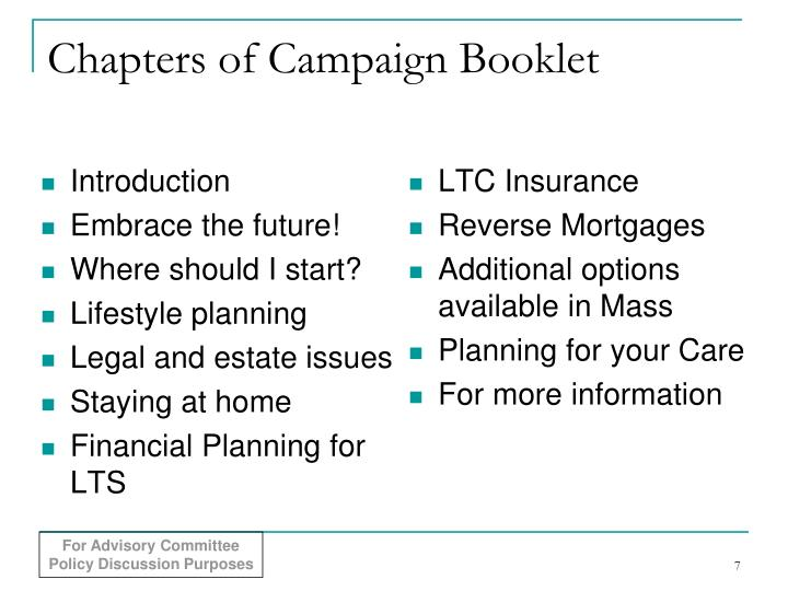 Chapters of Campaign Booklet