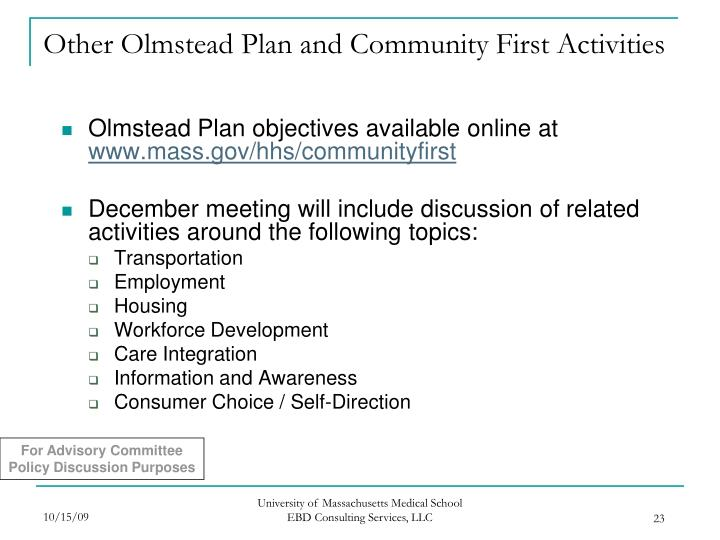 Other Olmstead Plan and Community First Activities