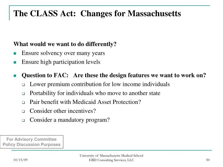The CLASS Act:  Changes for Massachusetts