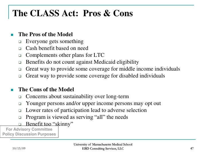 The CLASS Act:  Pros & Cons