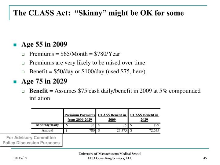 "The CLASS Act:  ""Skinny"" might be OK for some"