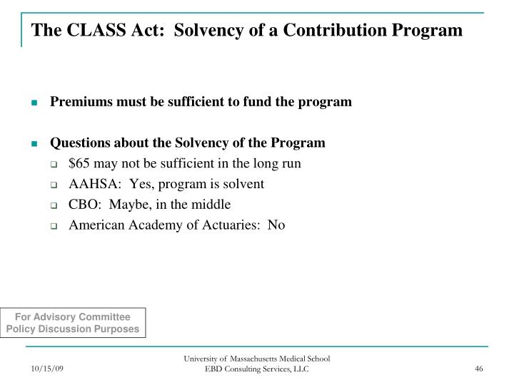 The CLASS Act:  Solvency of a Contribution Program
