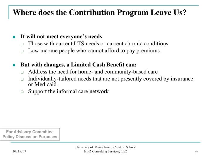 Where does the Contribution Program Leave Us?