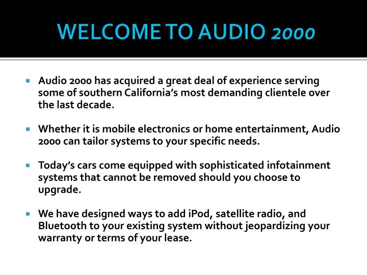 Welcome to audio 2000