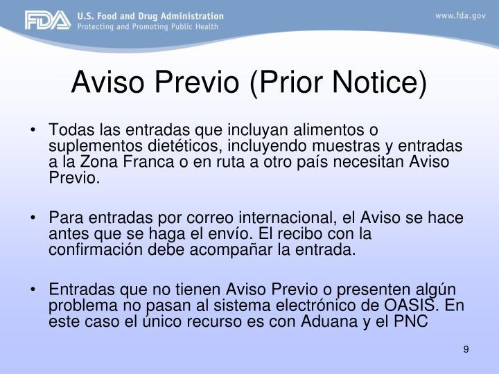 Aviso Previo (Prior Notice)