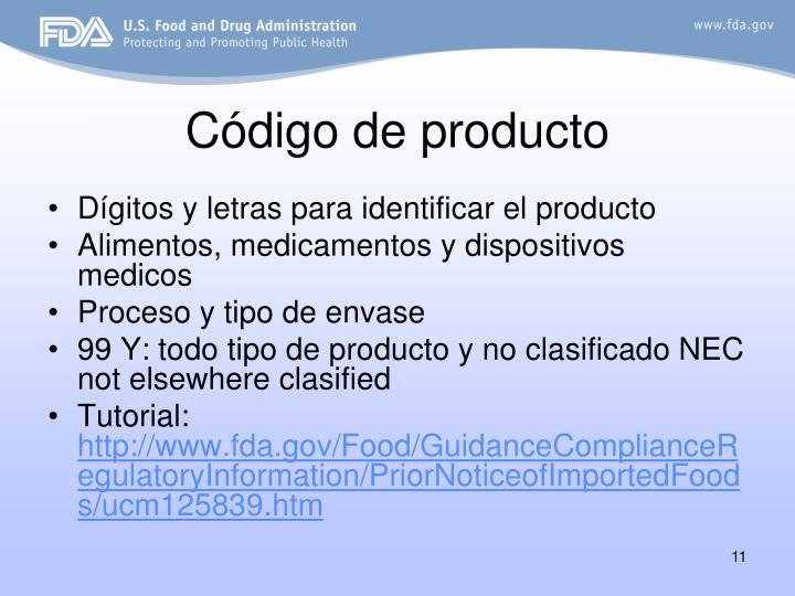 Código de producto